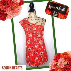 SEQUIN HEARTS One Shoulder Floral Dress